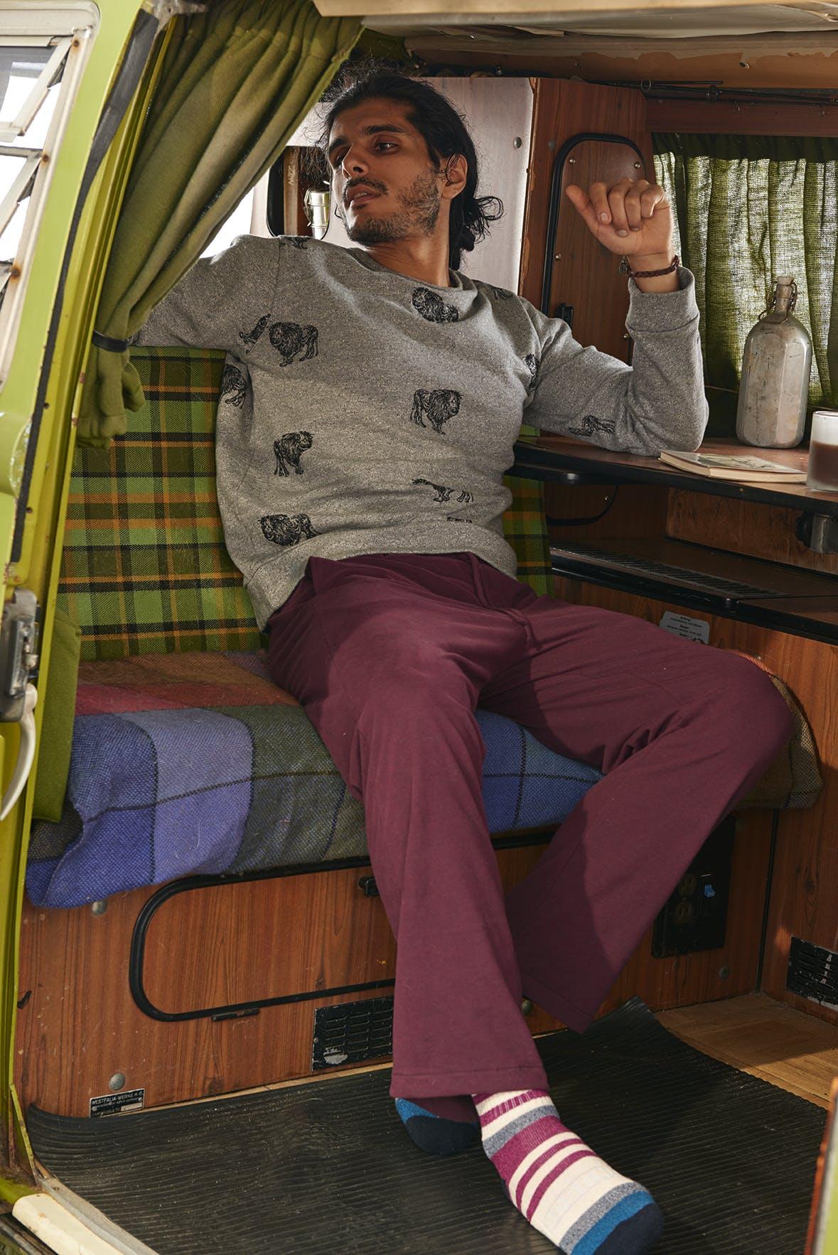 Man wearing Fleece Crew Neck Sweatshirt