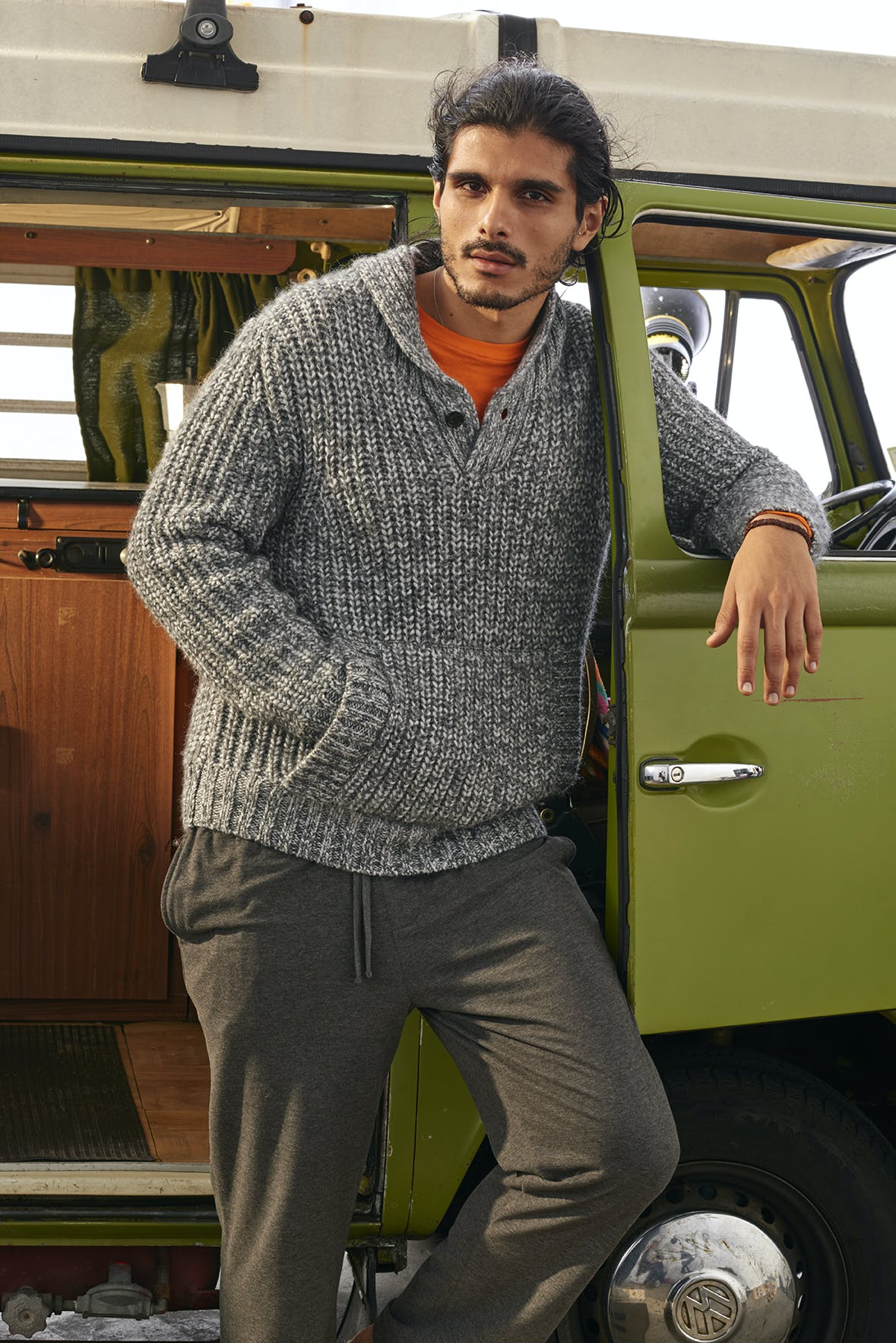 Man wearing Wool Blend Chunky Popover Sweater