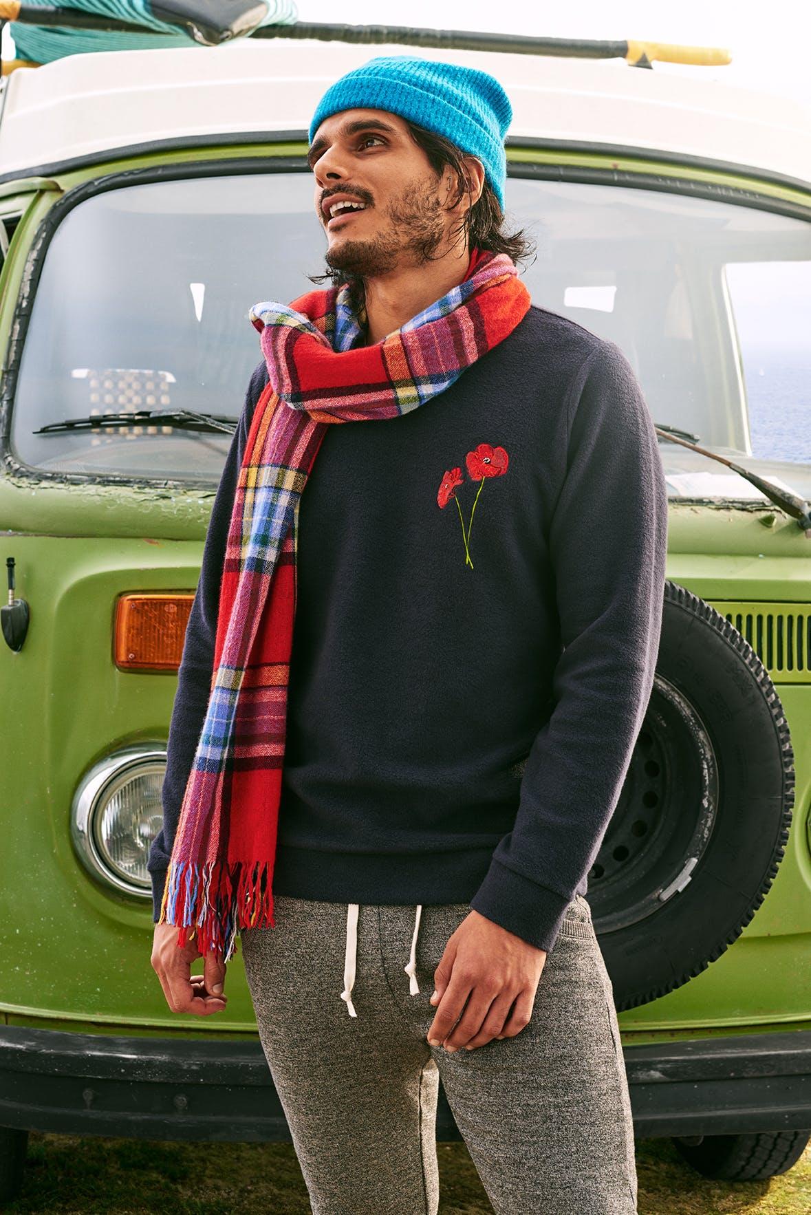 Man wearing Reverse Fleece Crew Neck Sweatshirt