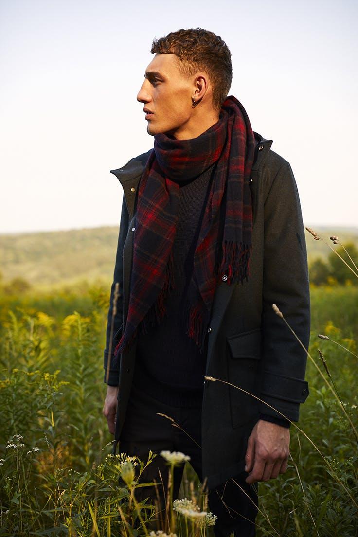 Man wearing The Tech Wool Field Jacket