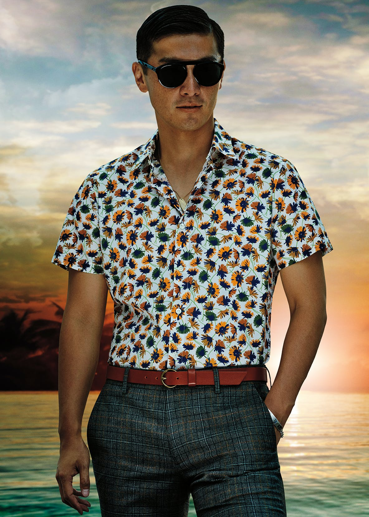 Man wearing Amalfi Premium Short Sleeve Shirt in Curry Graydon Floral