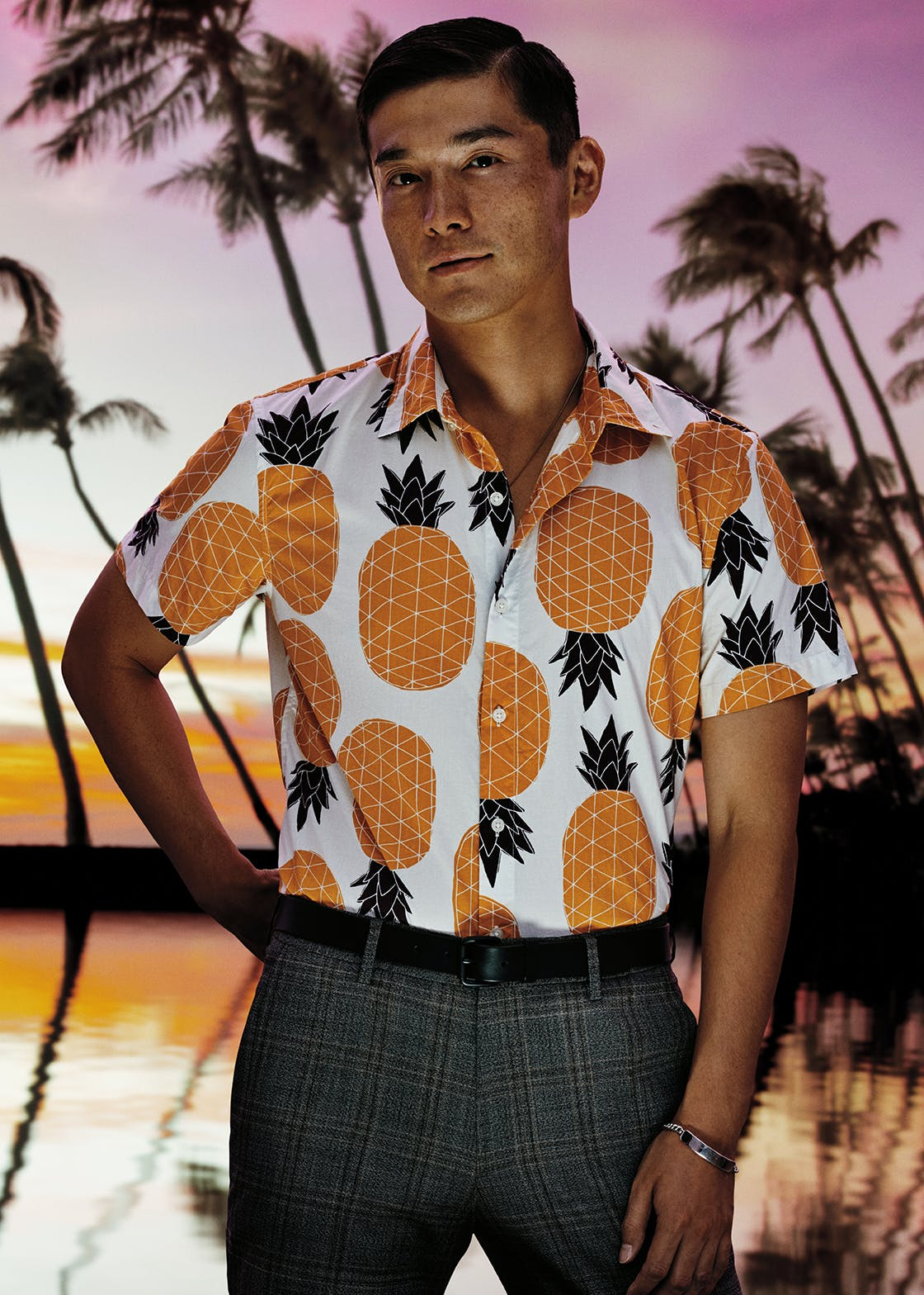 Man wearing Riviera Short Sleeve Shirt in Large Pineapple