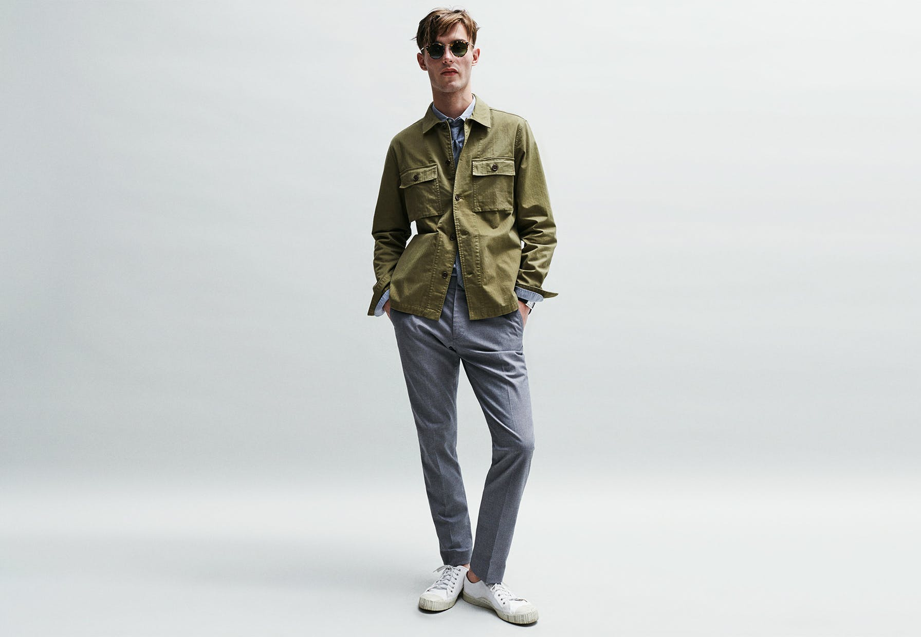 Reverse the typical blazer and jeans equation by wearing dress pants with a casual jacket. It's dressed up but not as formal, and you'll definitely rock fewer elbow patches.