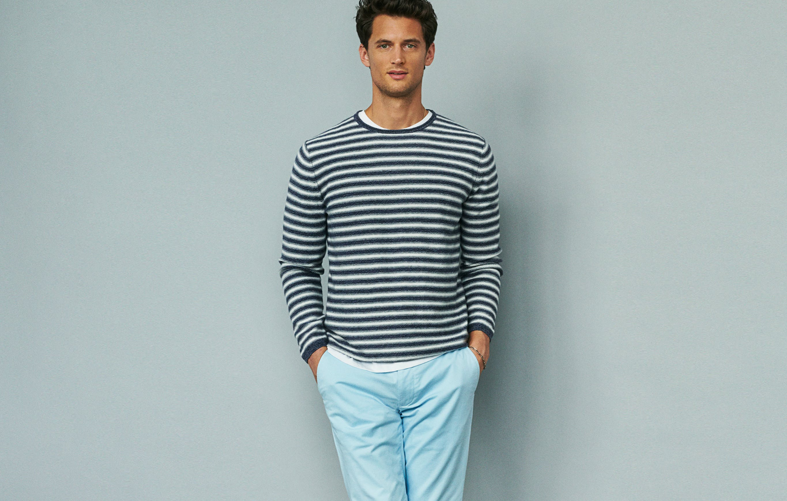 Winter's gloom and doom is over; time to brighten up. Ground dark navies or greys with these light blue chinos. You won't come out too bright, too fast.