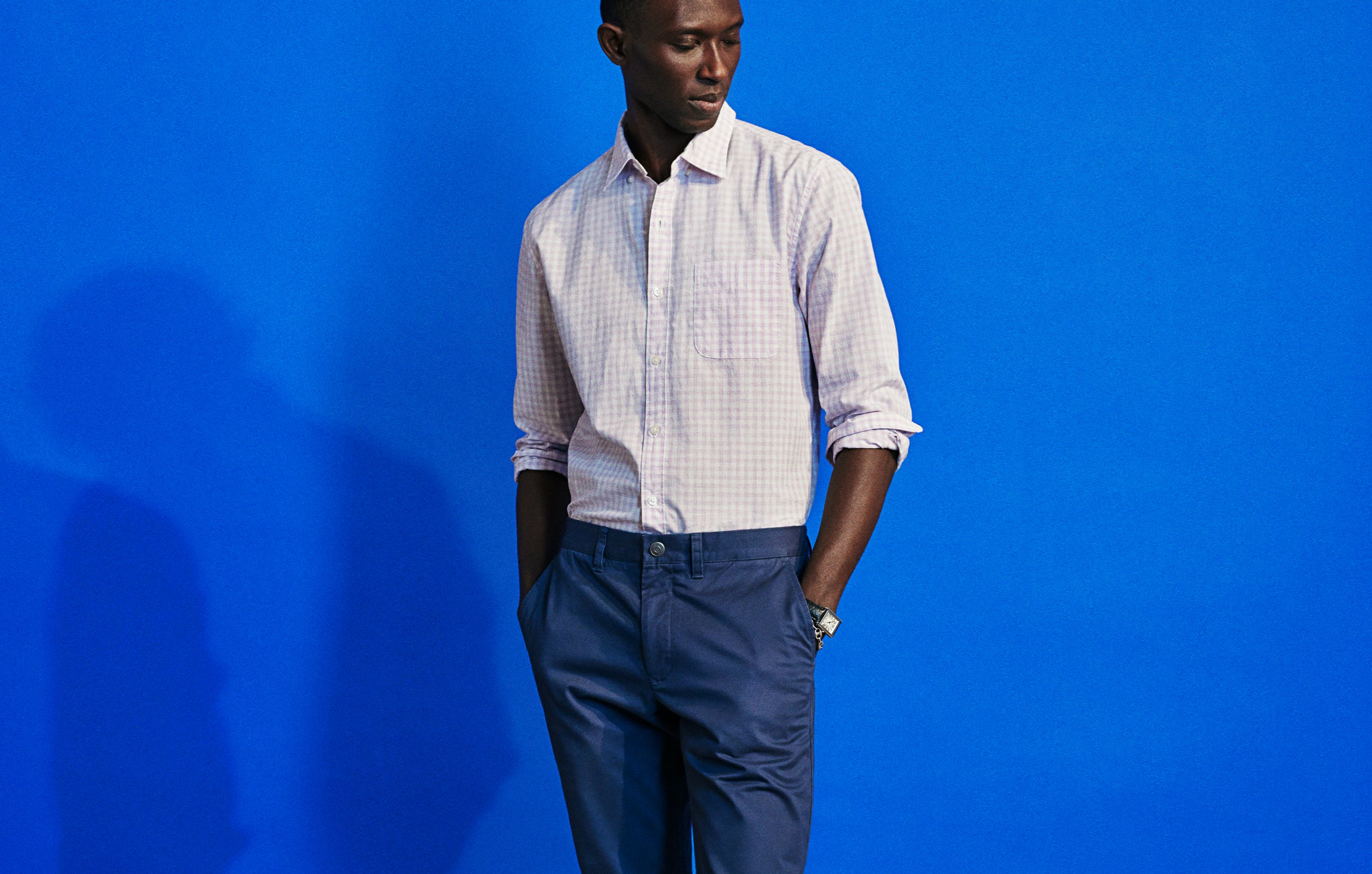 Dark blue works all year, but now is really its time to shine. Team these up with a lighter, subtly colored shirt and clean derbys for a look appropriate in almost any context.