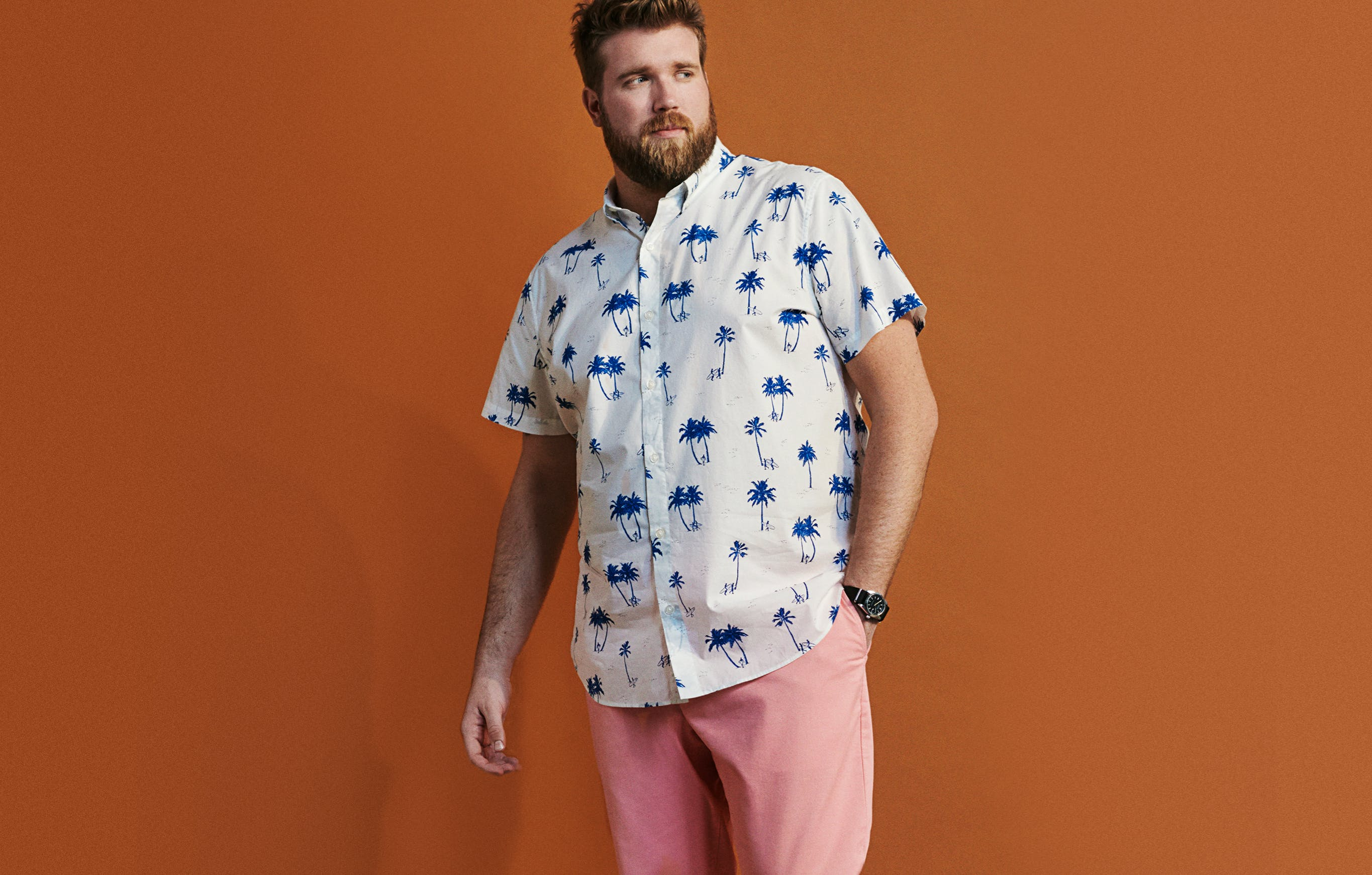 If you really love spring, and we mean really love spring, just go full out. But don't be apologetic — wear these pink chinos with a graphic print shirt and live loudly