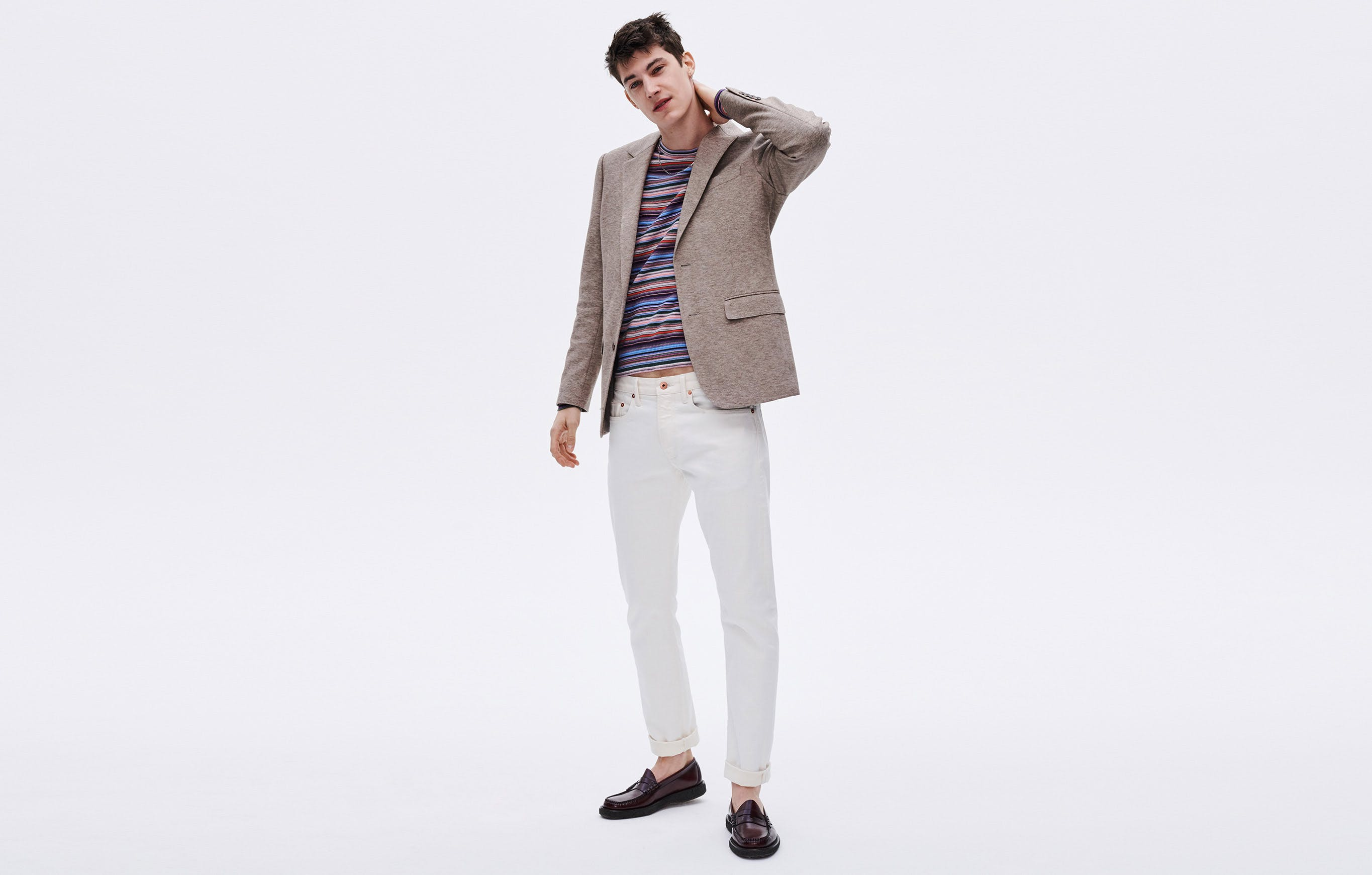 """White jeans before the """"rules"""" say to wear them? We say now's the time, so pair this selvage denim with another neutral. That'll make brighter colors stand out like a double rainbow."""