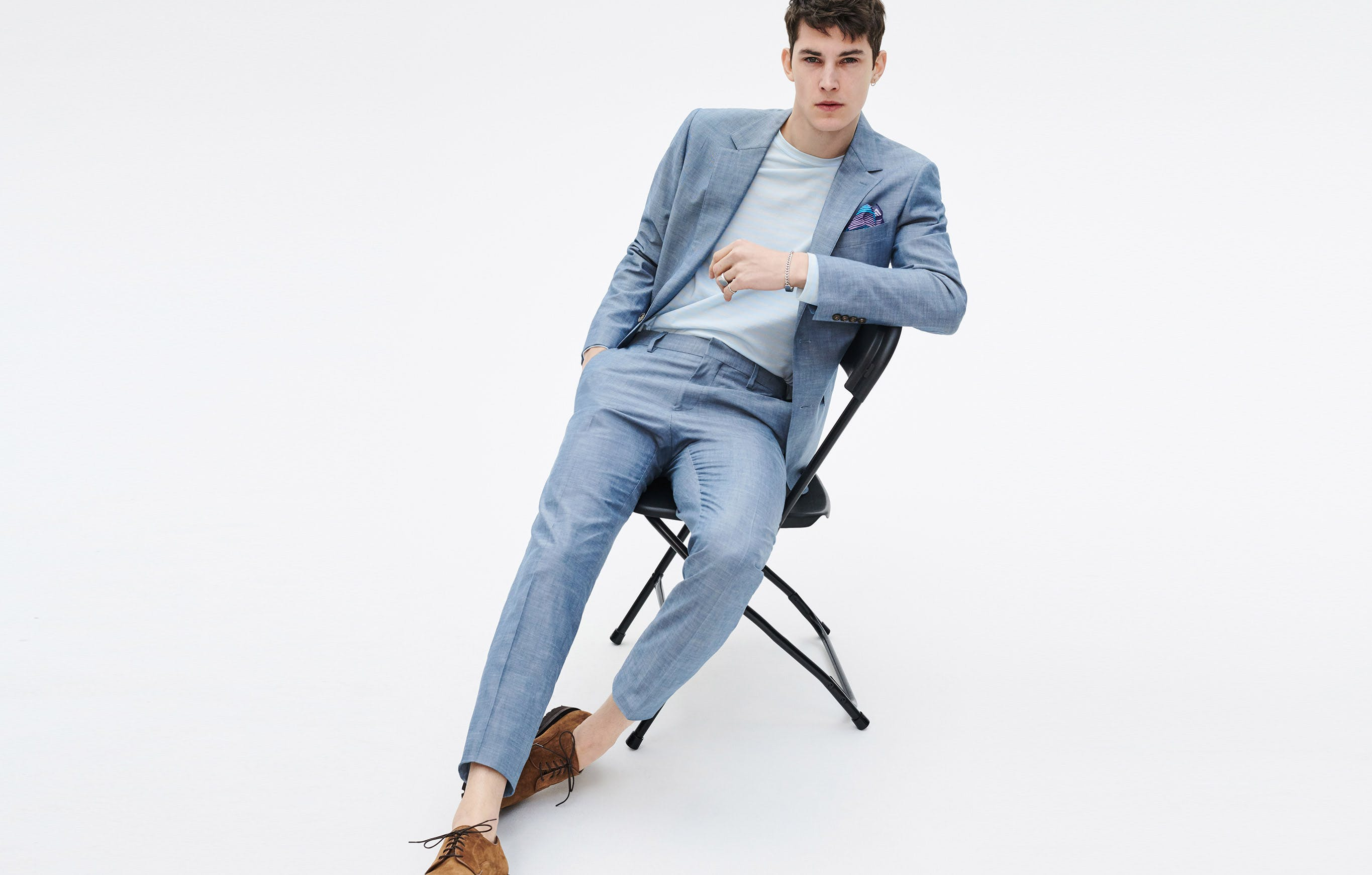 Even if you don't suit up every day, you'll likely still need one. The reasons may vary, but the needs will be the same: you can't look stuffy, you must look sharp. This chambray suit covers both.