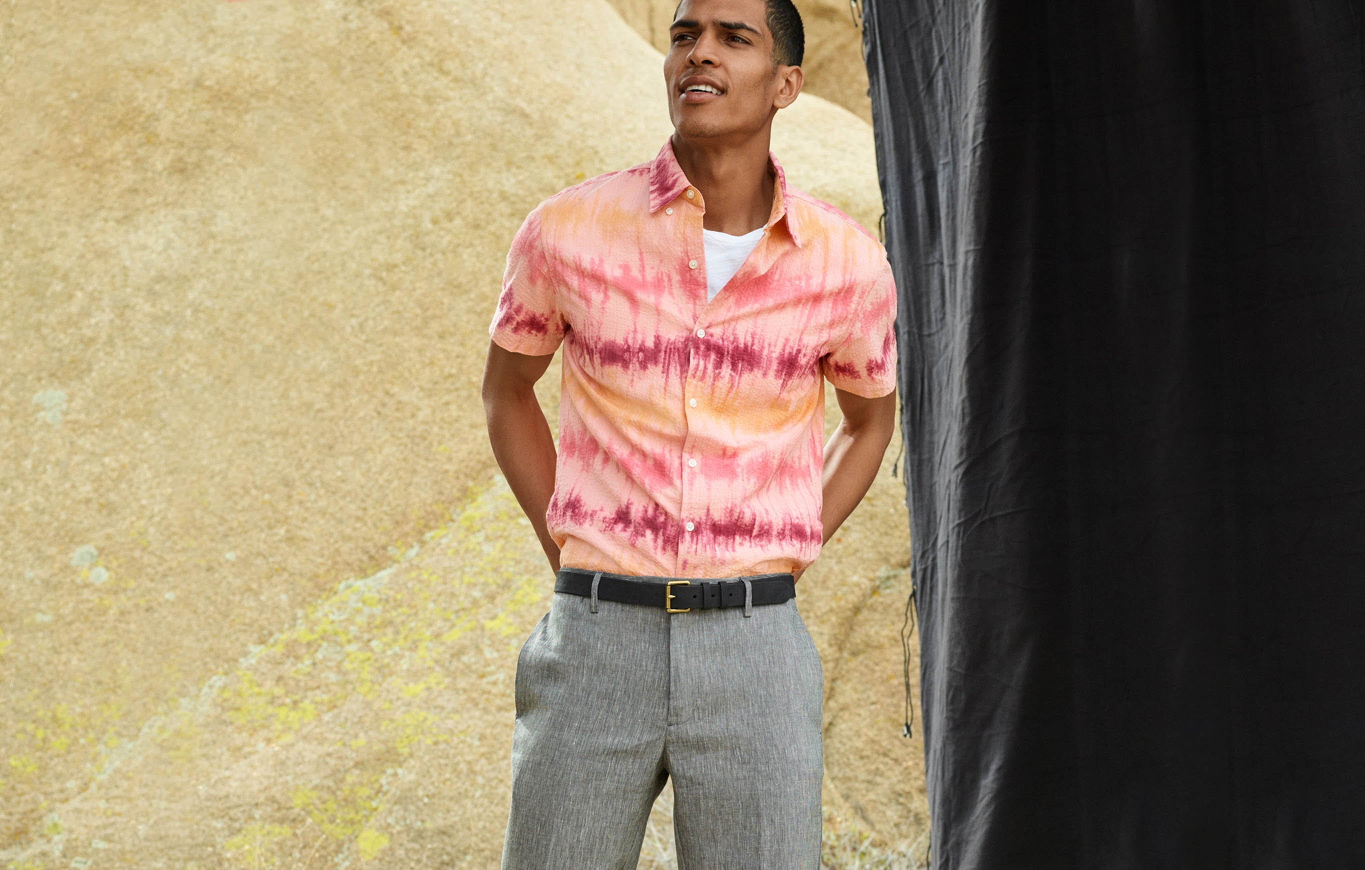Tie-dye and seersucker are an unlikely duo, but two great summer things can make one great summer outfit. This seersucker shirt's stripes were made by pouring dye over tied-off sections. Add linen pants to make the best summer trio.